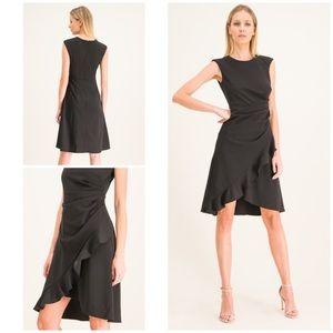 Dkny Black Sleeveless Crossover Fit Flare Dress 4
